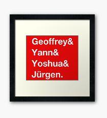 Geoffrey & Yann & Yoshua & Jürgen (white) Framed Print