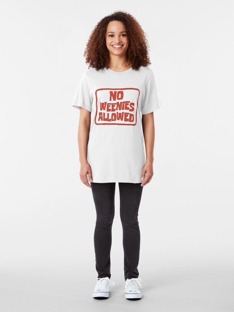 Alternate view of No Weenies Allowed - Spongebob Slim Fit T-Shirt