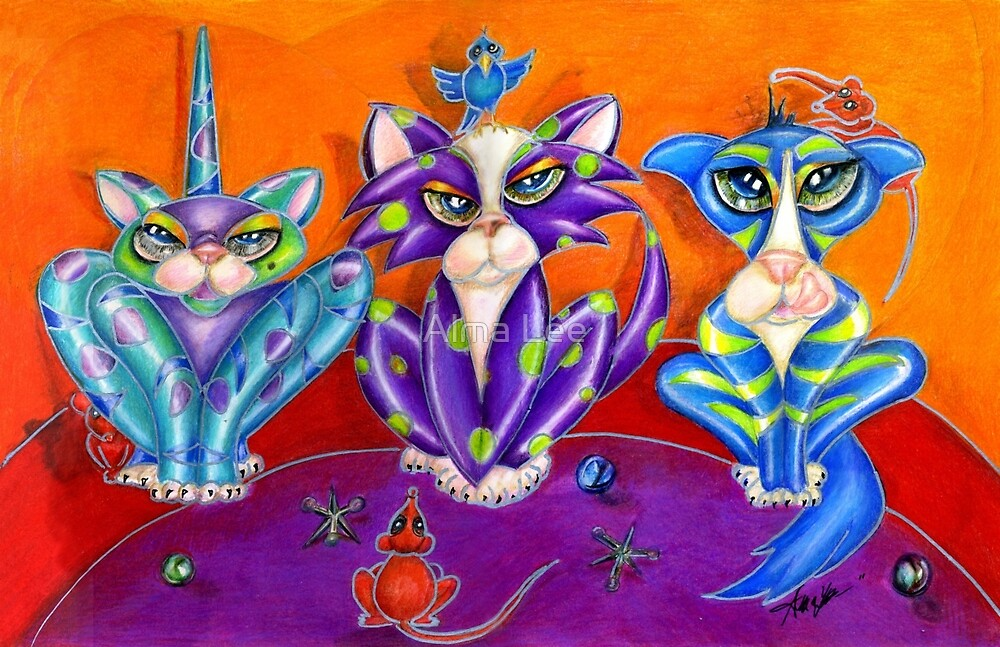 Kitty Line Up, the Usual Suspects, by Alma Lee by Alma Lee