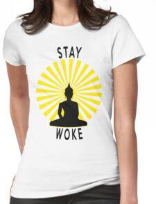 Stay Woke Meditating Buddha Womens Fitted T-Shirt
