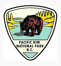 Pacific Rim National Park BC Canada Vintage Travel Decal Photographic Print