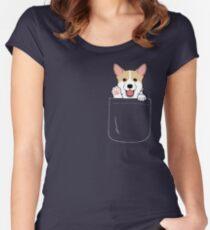 Camiseta entallada de cuello redondo Corgi In Pocket camiseta Cute Paws Blush Smile Puppy Emoji