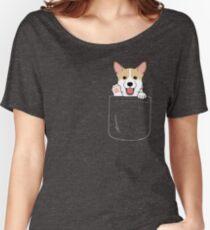 Corgi In Pocket T-Shirt Cute Paws Blush Smile Puppy Emoji  Women's Relaxed Fit T-Shirt