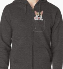 Corgi In Pocket T-Shirt Cute Paws Blush Smile Puppy Emoji  Zipped Hoodie