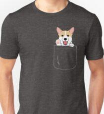 Corgi In Pocket T-Shirt Cute Paws Blush Smile Puppy Emoji  Unisex T-Shirt