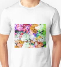 drawing and painting colorful flowers background Unisex T-Shirt