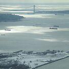 Aerial View, Snow View, Governors Island, Verrazano Bridge, Hudson River, New York City by lenspiro