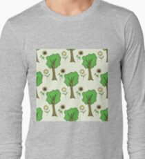 cute forest pattern with flowers and tree Long Sleeve T-Shirt
