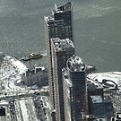 Aerial View, Snow View, Lower Manhattan, Battery Park, Hudson River, New York City by lenspiro