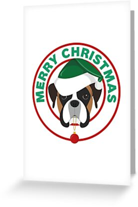 Merry Christmas Boxer Dog by CafePretzel