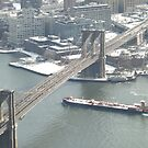 Aerial View, Snow View, Brooklyn Bridge, East River, New York City by lenspiro