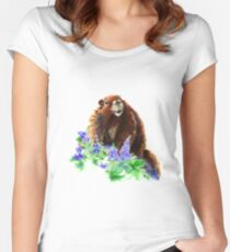 Marmot, Groundhog, Woodchuck,Watercolor Animal Women's Fitted Scoop T-Shirt
