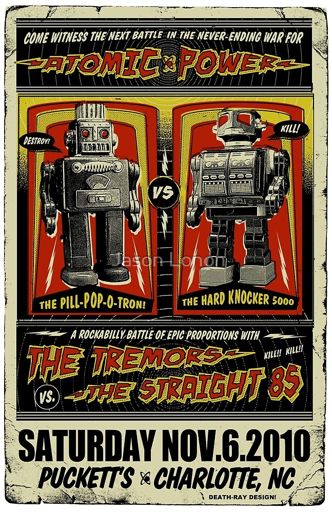 Rockabilly Robot Battle Poster by Jason Lonon