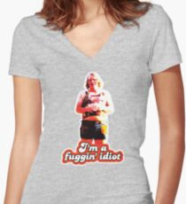 Scotty J. Fuggin Idiot Design Women's Fitted V-Neck T-Shirt