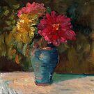 Zinnias in September by Sally  Rosenbaum