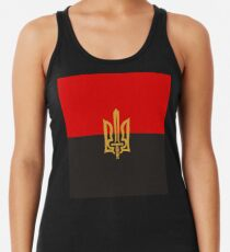 Stylized Tryzub And Red-Black Flag Racerback Tank Top
