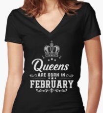 Queens are born in February Fitted V-Neck T-Shirt
