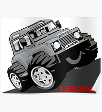 Land Rover Defender 90 caricature Poster