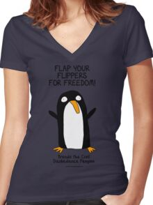 Brenda the Civil Disobedience Penguin Women's Fitted V-Neck T-Shirt
