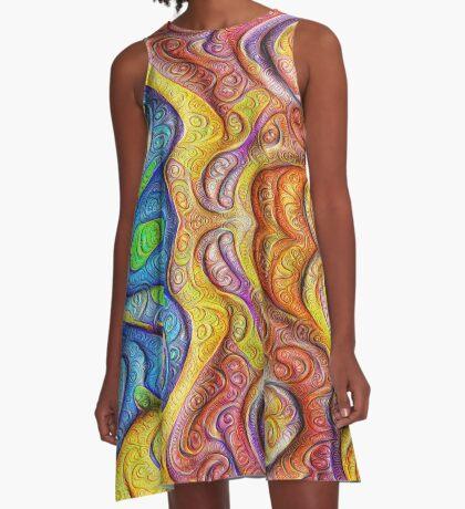 Mask #DeepDream #Art A-Line Dress
