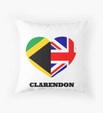 Love Clarendon Jamaican Flag British Union Jack Heart Throw Pillow