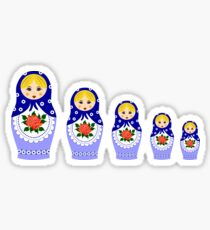 Blue russian matryoshka nesting dolls Sticker