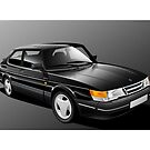 Poster artwork - SAAB 900 Turbo by RJWautographics