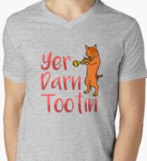 Yer Darn Tootin Cute Cat Shirt Mens V-Neck T-Shirt