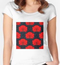 RED FLOWER; Abstract Bright Print Women's Fitted Scoop T-Shirt