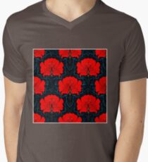 RED FLOWER; Abstract Bright Print Mens V-Neck T-Shirt