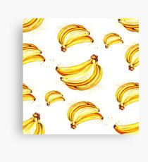 Watercolor summer fruit banana pattern on white background Canvas Print