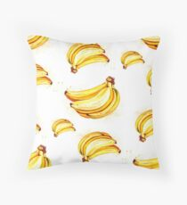Watercolor summer fruit banana pattern on white background Throw Pillow
