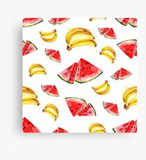 Watercolor summer fruit banana and watermelon pattern on white background Canvas Print