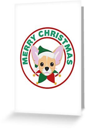 Merry Christmas Chihuahua Dog by CafePretzel