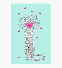 zen cat with love Photographic Print