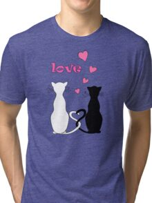couple cats with love Tri-blend T-Shirt