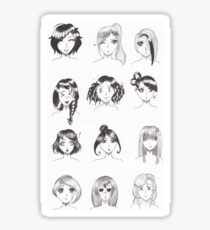 Visages filles manga Sticker