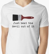 Just beat the devil out of it (Bob Ross inspired) Men's V-Neck T-Shirt
