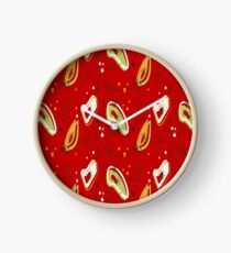 Pretty, Mid Century Modern, Red Abstract Pattern  Clock