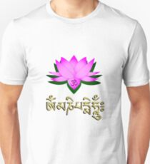 Lotus flower, om symbol and mantra 'om mani padme hum' Unisex T-Shirt