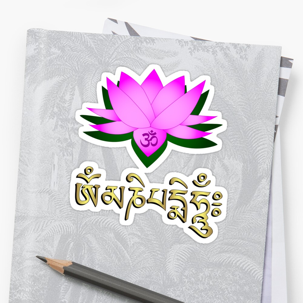 Lotus flower om symbol and mantra om mani padme hum stickers by lotus flower om symbol and mantra om mani padme hum by pixxart izmirmasajfo