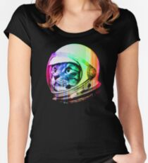 Astronaut Space Cat (digital rainbow version) Women's Fitted Scoop T-Shirt