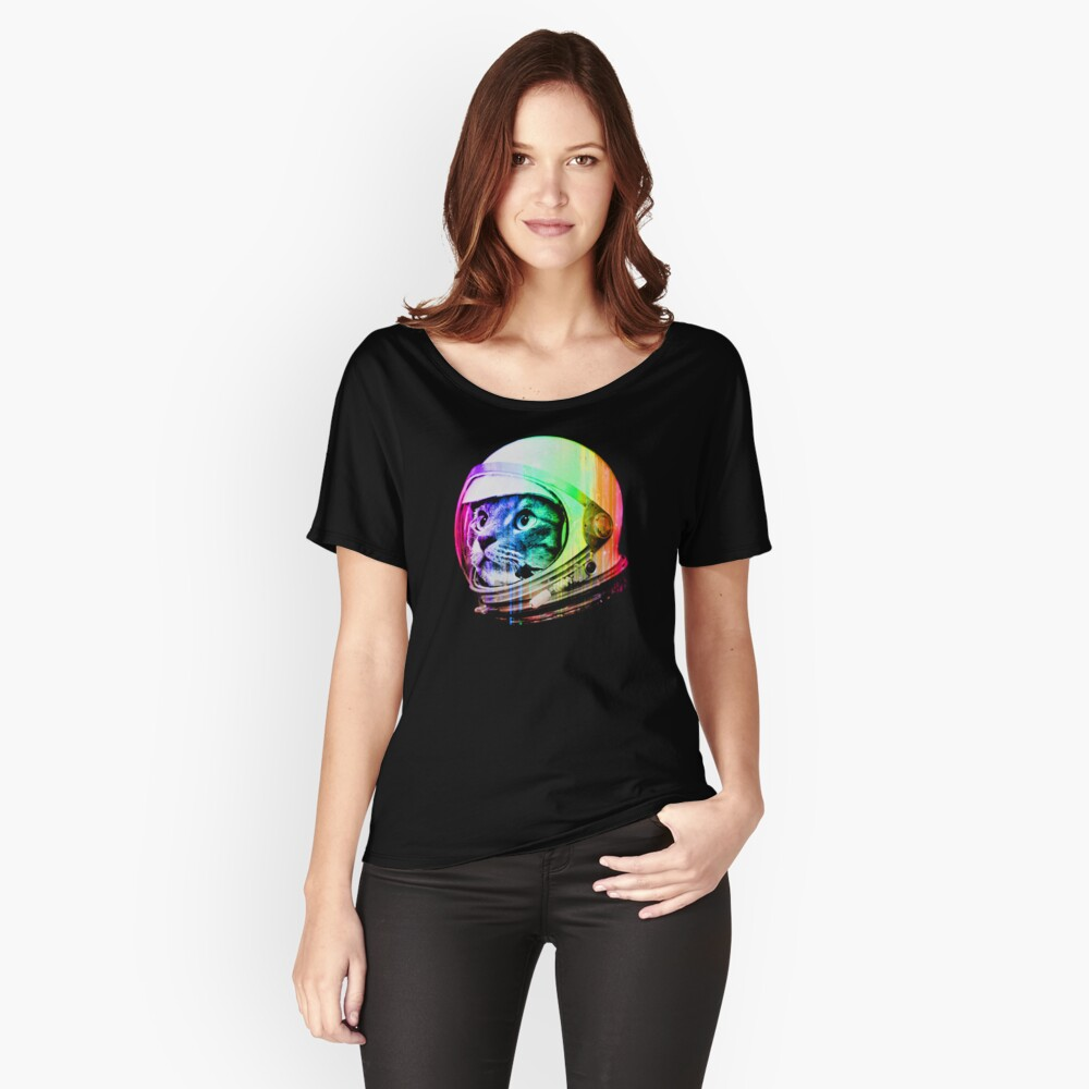 Astronaut Space Cat (digital rainbow version) Relaxed Fit T-Shirt