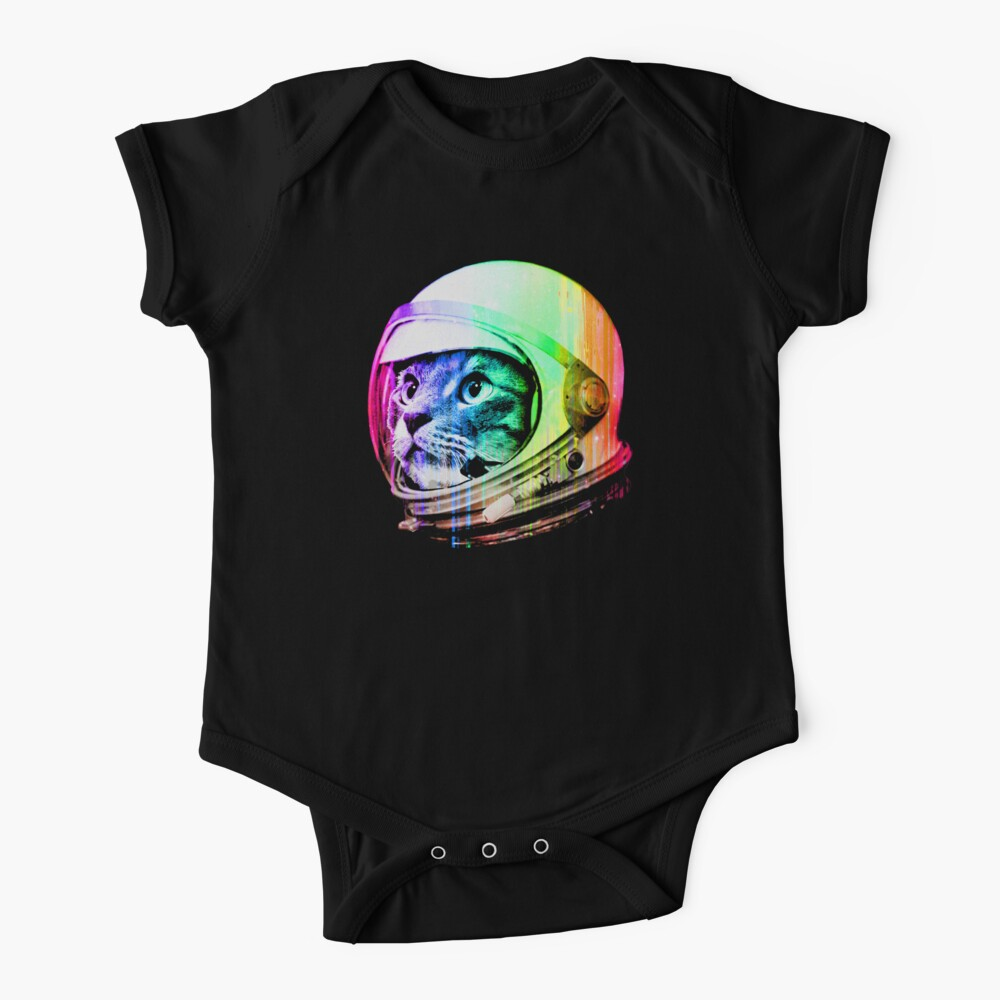Astronaut Space Cat (digital rainbow version) Baby One-Piece