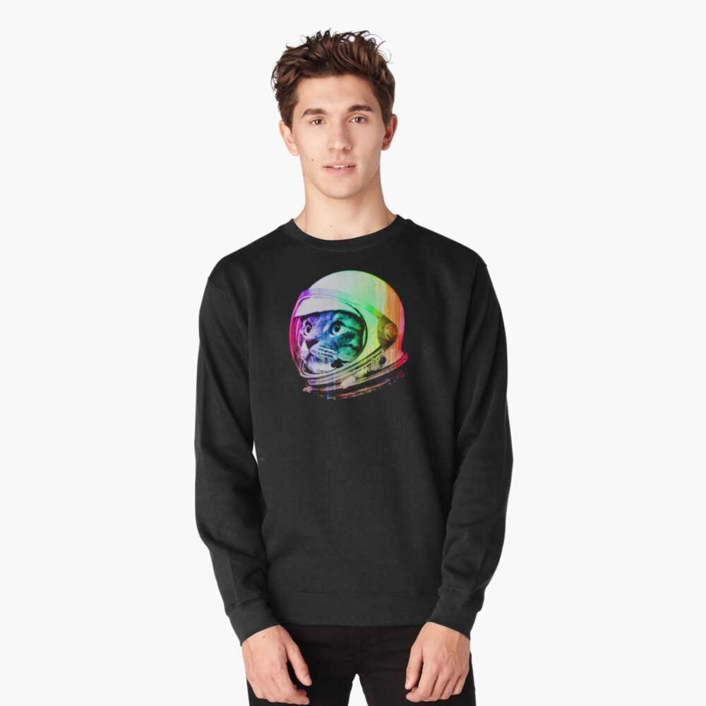 Astronaut Space Cat (digital rainbow version) Pullover Sweatshirt