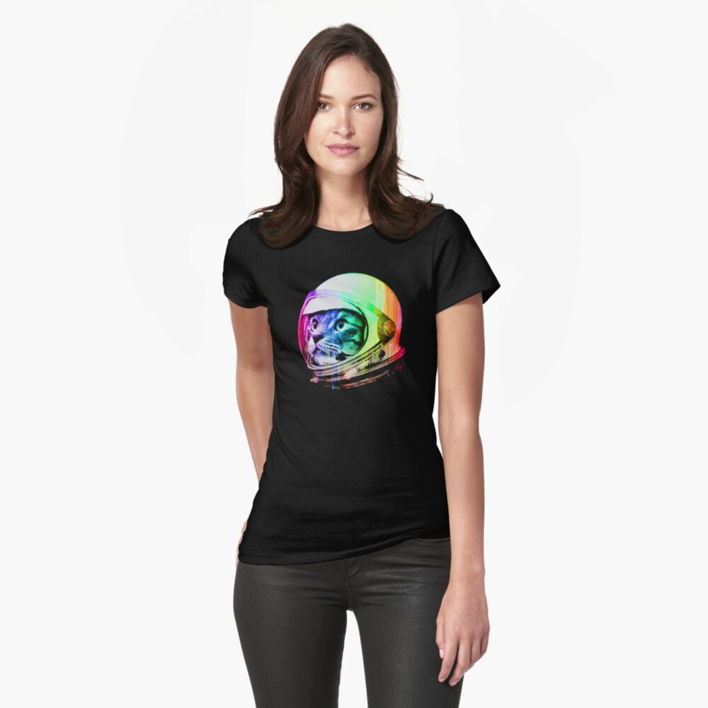 Astronaut Space Cat (digital rainbow version) Fitted T-Shirt