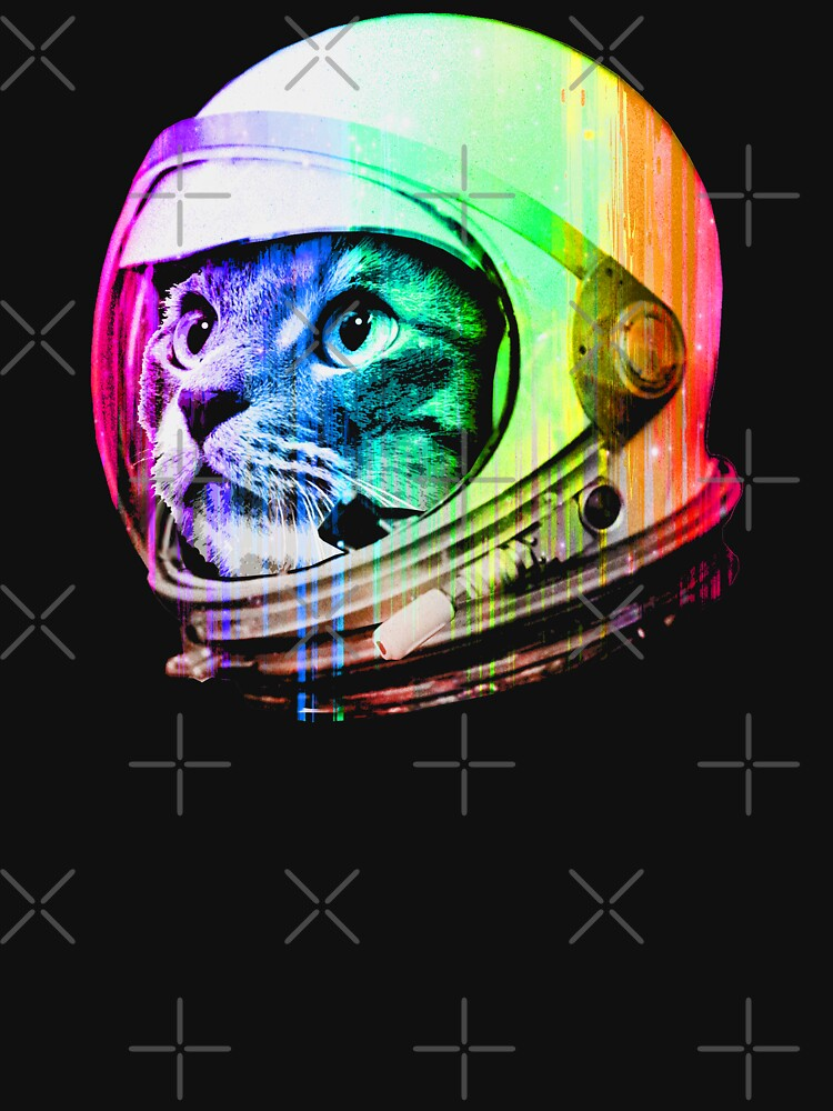 Astronaut Space Cat (digital rainbow version) by robotface