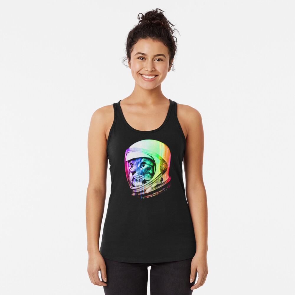 Astronaut Space Cat (digital rainbow version) Racerback Tank Top