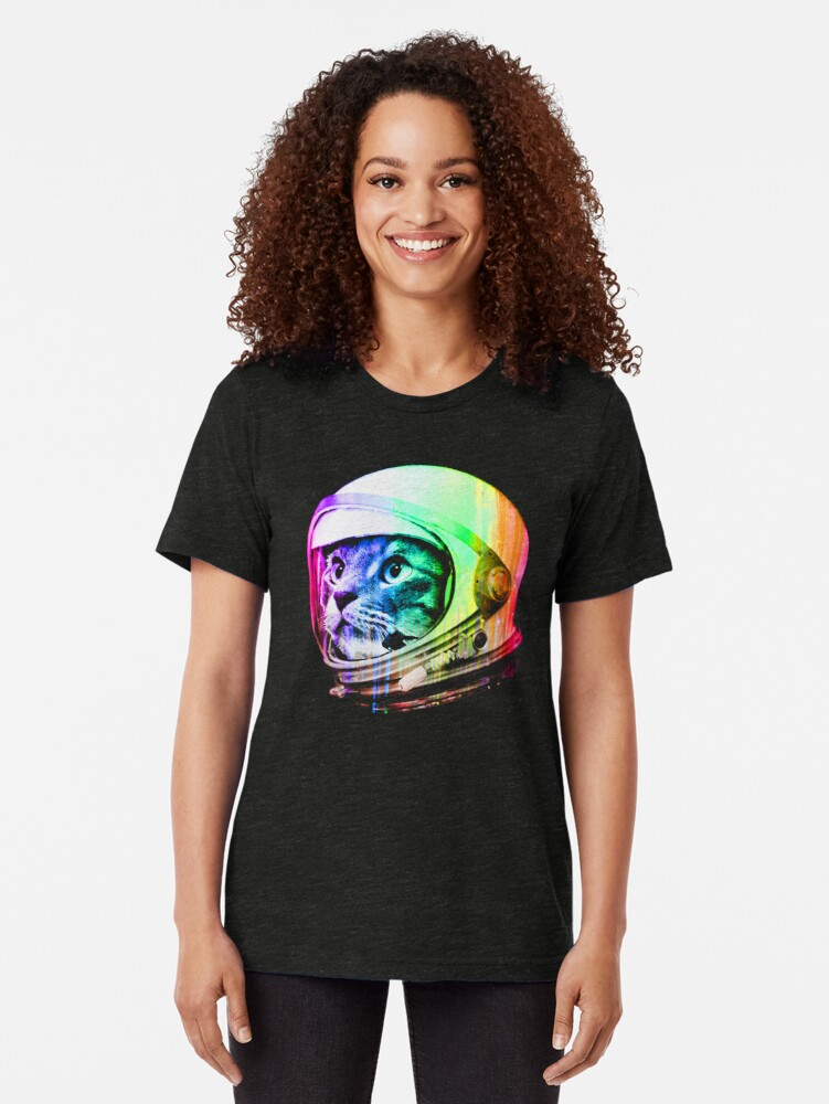 Alternate view of Astronaut Space Cat (digital rainbow version) Tri-blend T-Shirt