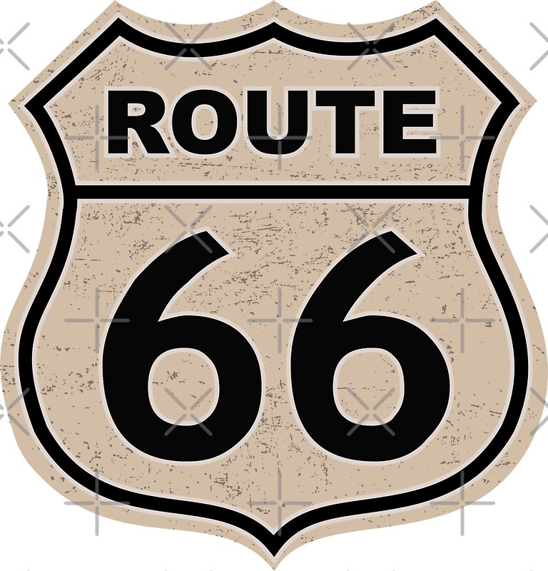 Route 66 Sign Illustration Stickers By Pixxart Redbubble